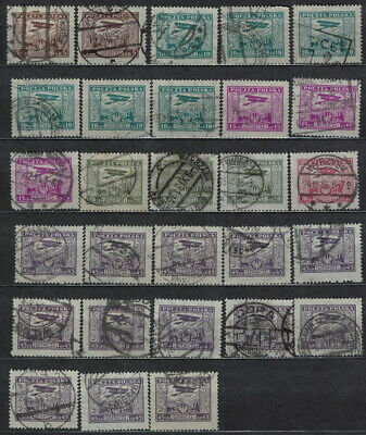Poland Fischer #  219 - 224 Air Mail Stamps Lot Of 28 Used .variety Posmarks  19