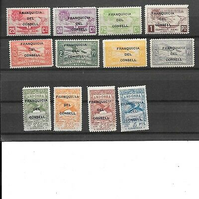 Andorra 1934 Unissued  ' On Service ' Airmail Set , Mint. (12)
