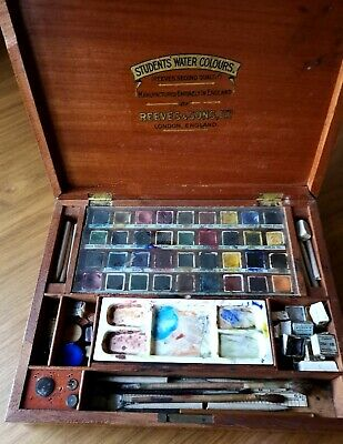 Reeves & Sons Antique Wood Mahogany Watercolour Artists Paint Box Set & Contents