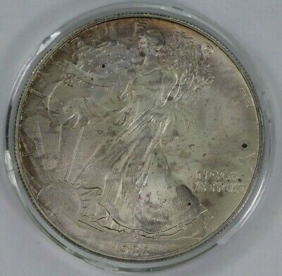 1986 American Silver Eagle Better Date in Hard Air-Tite Capsule Toned