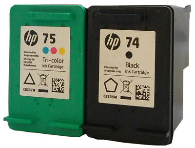 HP #74 #75 Black Color Ink Cartridges Combo GENUINE NEW
