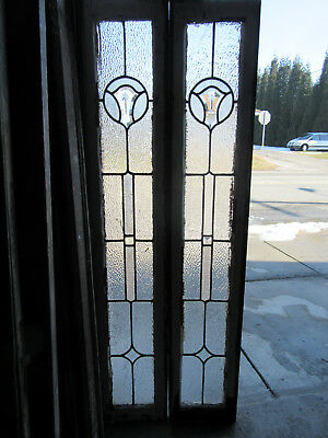 ~ Pair Antique Beveled Glass Sidelites Windows 66 Tall ~ Architectural Salvage