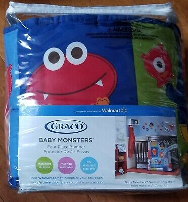 Graco Baby Monsters Padded 4 Piece Baby  Bumper  Set~ New