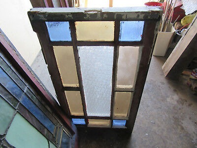 ~ Antique Stained Glass Window Queen Anne Style ~ 19 X 34~ Architectural Salvage