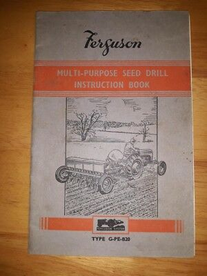 Massey Ferguson Type G-PE-B20  Multi Purpose Seed Drill  Instruction Book