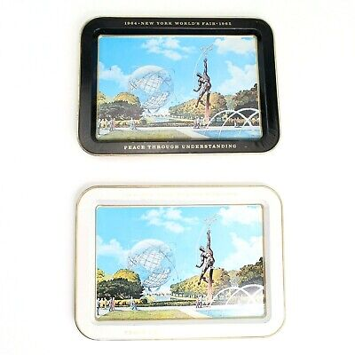 Vintage 1964 1965 New York Worlds Fair Metal Tray Set of 2 1960s Advertising