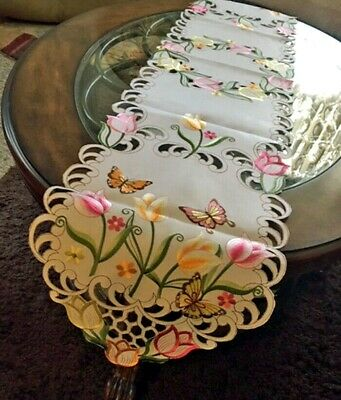 """Tulip & Butterfly Table Runner Dresser Scarf 69""""x 13"""" Embroidered Design"""