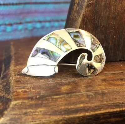 Vintage Taxco Sterling Silver Striped Abalone Caterpillar Brooch