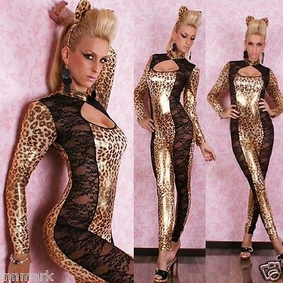 SEXY OVERALL CATSUIT LEATHER WET LOOK LEOPARD incl. EARS JUMPSUIT ONE SIZE / 400