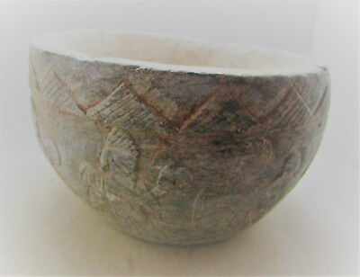 Scarce Circa 400Ad Sasanian Empire Stone Carved Bowl With Battle Scenes