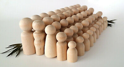 50 Wooden Peg Dolls / 10 Families of 5 / Peg People / Waldorf / Unfinished Maple