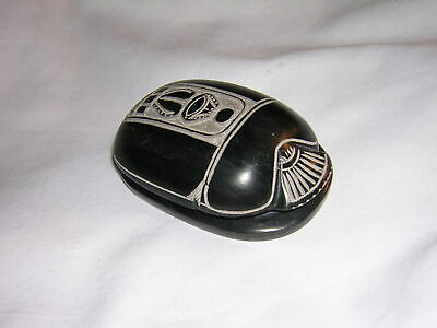 Vintage Egyptian Amulet Large Scarab Beetle Carved Stone with Hieroglyphics
