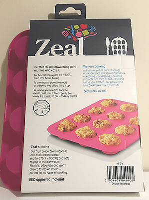 Zeal Non Stick Silicone Mini Muffin 12 Cup Mould in Pink  NB21
