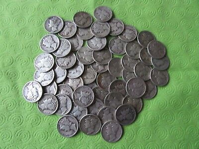 50 Mercury Silver Dimes $5.00 Face Value 90% Silver Coins mixed dates