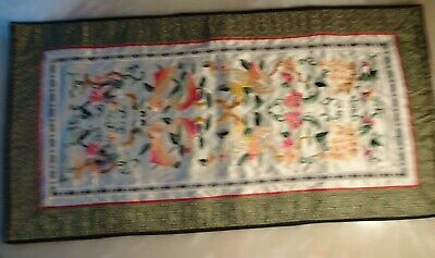 Antique Chinese Embroidery Forbidden Stitch Silk Robe Sleeve Panel flower 19th C