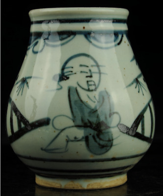 Chinese antique hand-made Blue and White porcelain Hand painted figure pot b02
