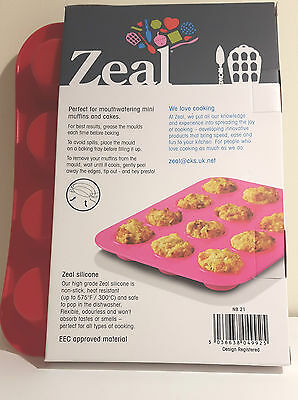 Zeal Non Stick Silicone Mini Muffin 12 Cup Mould in Red NB21