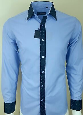 Mens Contrast Shiny Collar Wedding, Casual, Party Shirt NOW ONLY £ 17.99 (318)