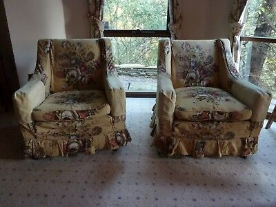 Antique floral linen pair lounge chairs with feather seat cushions
