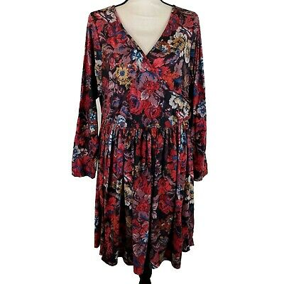 b4f8fda6739e Asos Curve Dress Womens Plus Size 20 Red Black Floral Long Sleeve Fit &  Flare