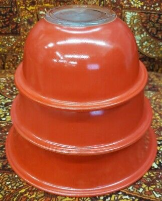 RARE-3 Pyrex Vintage Clear Bottom Nesting Mixing Bowls Red and Yellow/tan inside