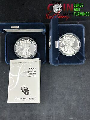 Lot Of 2 American Silver Eagle Proof Coins 1999 & 2018 / 999 Fine Silver #25219