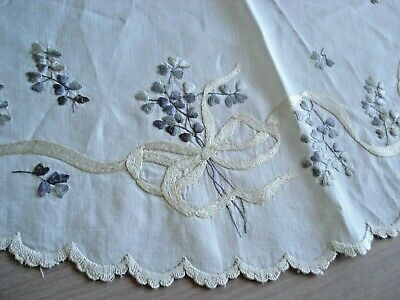 Antique Society Silk Centerpiece - Linen Round - Violets - Ribbons - 23 Inch
