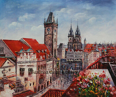 Original Prague Oil painting Wall art Deco On Canvas knife Hand Painted Prg120