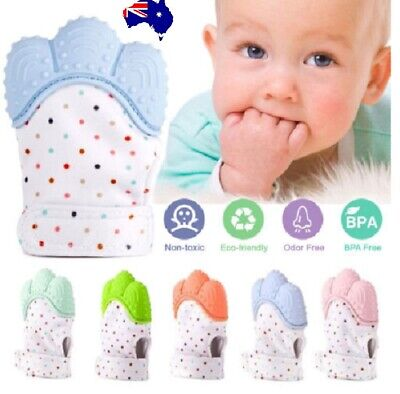 Baby Silicone Teething Mitten Mitts Glove Safe BPA Free Teether Sucking Dummy