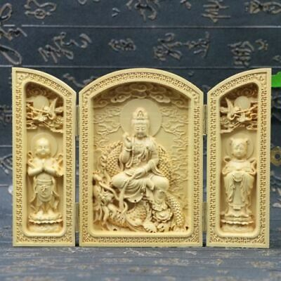 Chinese Boxwood Handmade Carved Three Dragon Kwan-yin Open Box