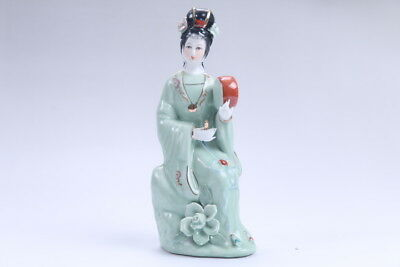 Exquisite Chinese hand carved Enamel porcelain beautiful woman statue  aa09