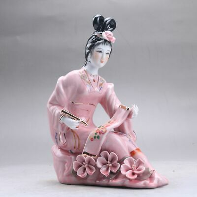 Exquisite Chinese hand carved Enamel porcelain beautiful woman statue aaa3