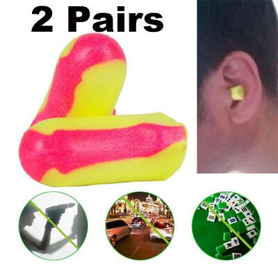 2 Pairs Earplugs Soft Durable Foam Plugs Laser Lite Anti-Noise Snore Sleep New