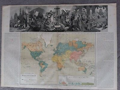 Antique map of The Distribution of World Religions by Otto Neussel
