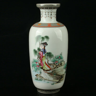 China Pastel Porcelain Hand Painted Beauty Vase Mark  As The Qianlong R1069
