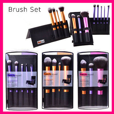 Pro Real Techniques Makeup Brush Starter Kit Sculpting Powder Blush Foundation