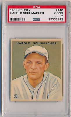 HAROLD SCHUMACHER 1933 Goudey Gum #240 PSA 2 GOOD GIANTS LAST CARD IN SET