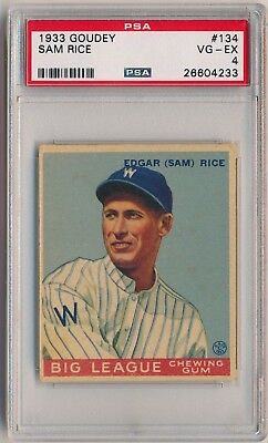 SAM RICE 1933 Goudey Gum #134 PSA 4 VG-EX WASHINGTON SENATORS HOF VINTAGE PREWAR