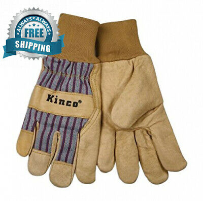 KINCO 1917KW-M Men's Unlined Grain Pigskin Gloves, Knit Wrist, Medium, Golden