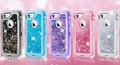 For Apple iPhone Models Glitter Liquid Defender Clear Bling Quicksand Case Cover