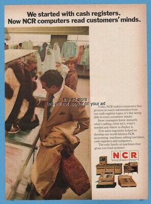 1969 National Cash Register NCR computers read customers minds photo print ad