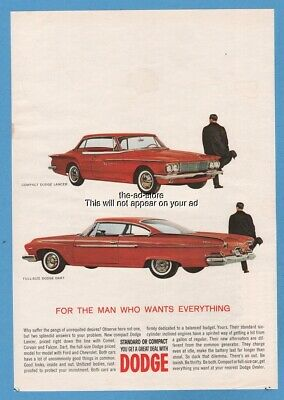 1961 Dodge Lancer Dart red coupe For the man who wants everything car print ad