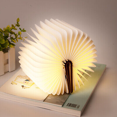 Portable USB Rechargeable LED Night Light Magnetic Foldable Wood Desk Book Lamp
