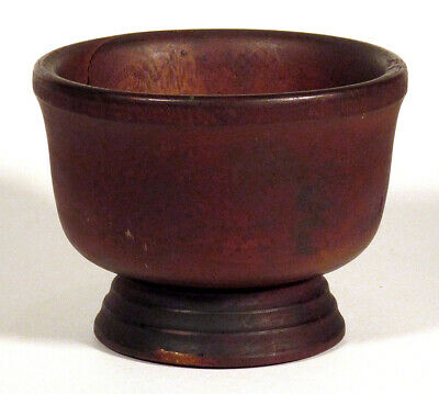 Early 1800s Antique TREEN TREENWARE WOODEN BOWL Turned Tapered Foot New England