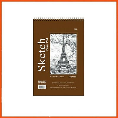 48 x PREMIUM SPIRAL BOUND SKETCH PAD | 50 Sheets Painting Drawing Sketchbook