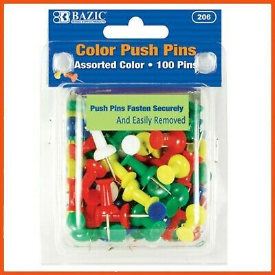 24 x PUSH PINS 100 Pack ASSORTED COLOURS | Notice Cork Board Thumb Tacks Message