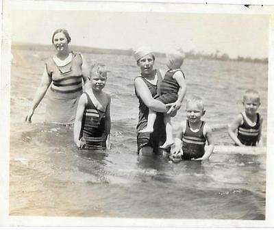Vintage Old 1920s Photo Mother With Five Sons Little Boys Swimsuit