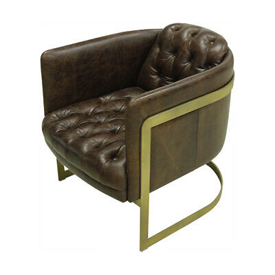Gatsby Vintage Brown Leather and Iron Armchair