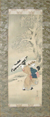 """Original! Eishi Hosoda Signed Sealed """"Beauties in Snowstorm"""" Painting Scroll"""