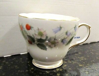 Duchess Bone China Strawberryfields Tea Cup, White Floral, Gold Made in England!
